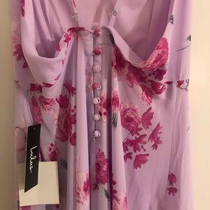 Pink/purple flowy floral maxi dress. Never worn.